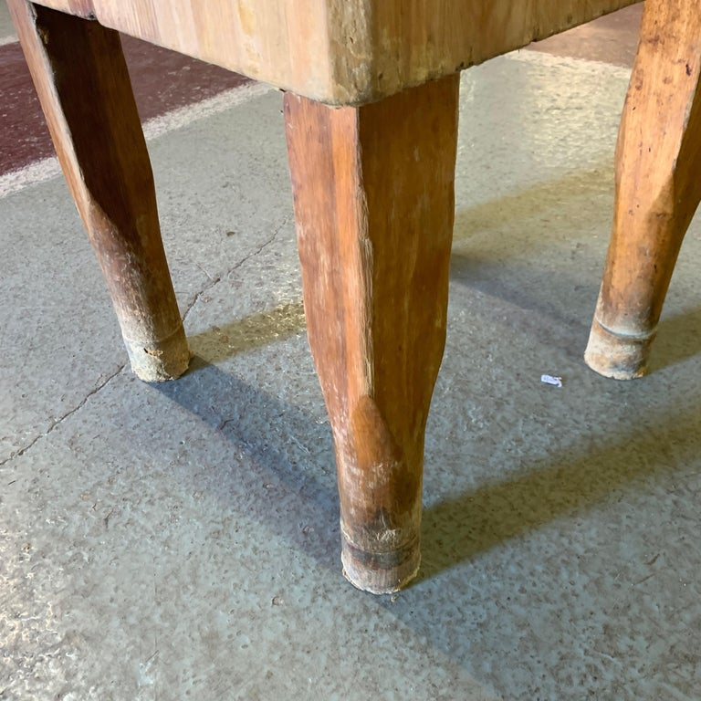 Large American Square Butchers Block Table For Sale 11