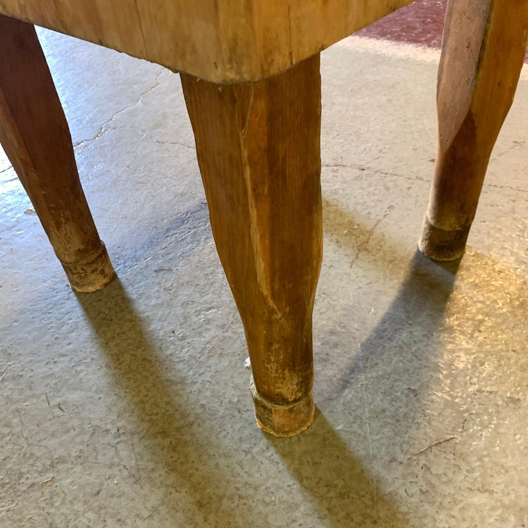 Large American Square Butchers Block Table For Sale 12