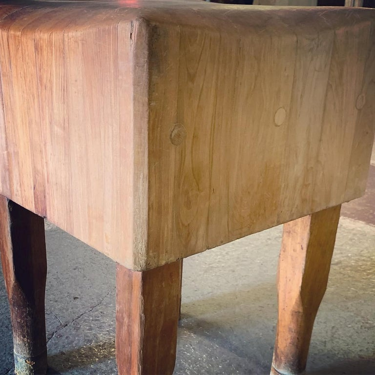 Large American Square Butchers Block Table For Sale 5