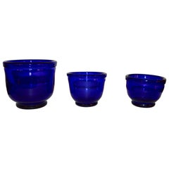 Set of three Small Swedish Cobalt Blue Hand Blown Glass Bowl or Trinkets