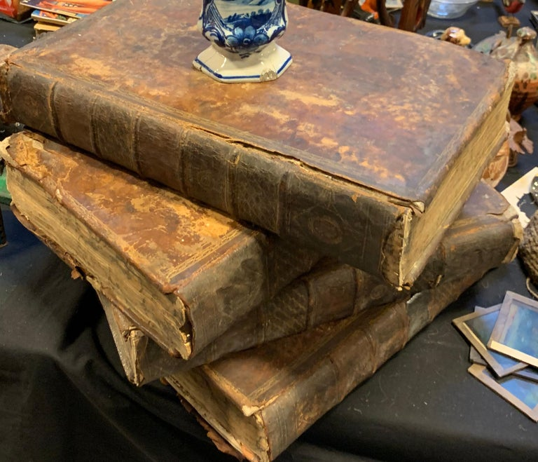 Rustic Set of Four Large Thick, 18th Century Leather-Bound Books for Decoration For Sale