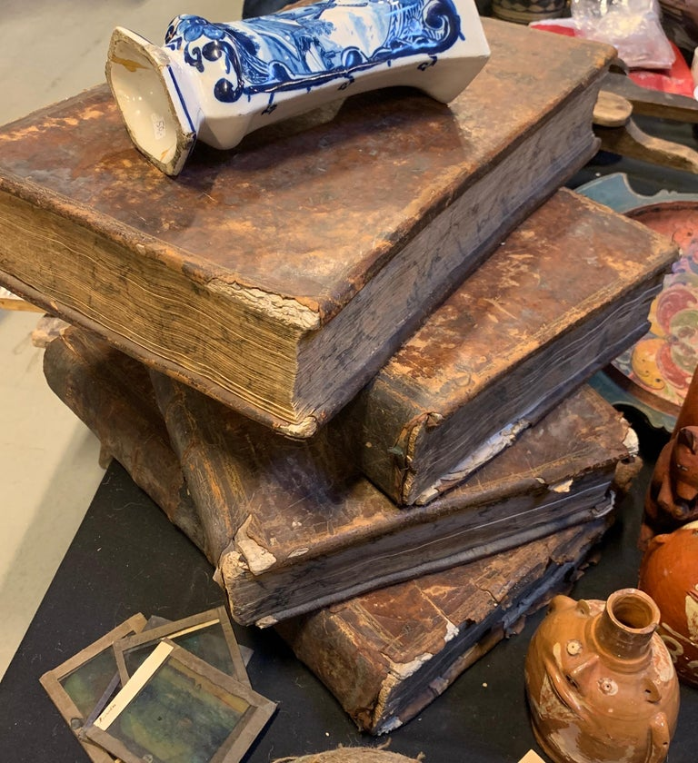 Set of Four Large Thick, 18th Century Leather-Bound Books for Decoration For Sale 5