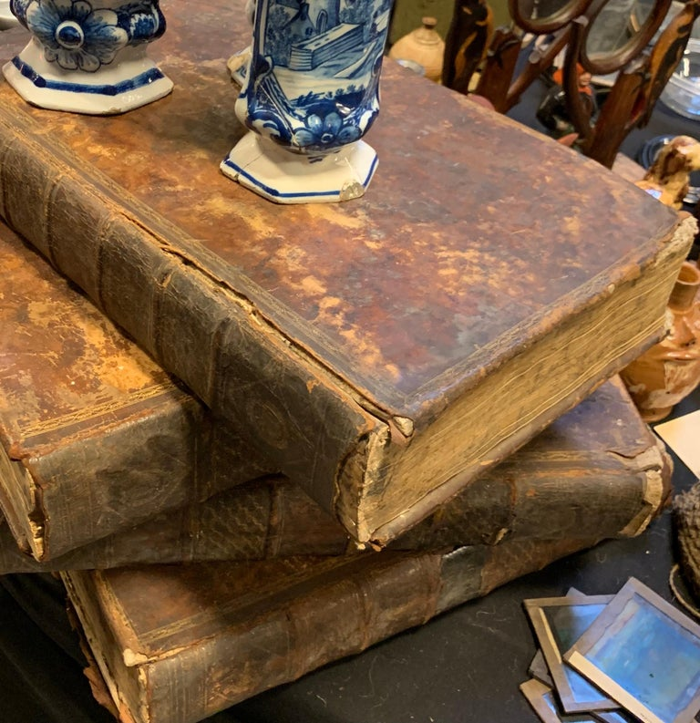 Set of Four Large Thick, 18th Century Leather-Bound Books for Decoration For Sale 7