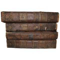 Set of Four Large Thick, 18th Century Leather-Bound Books for Decoration