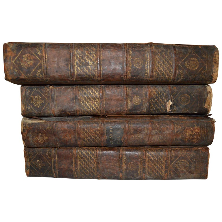 Set of Four Large Thick, 18th Century Leather-Bound Books for Decoration For Sale