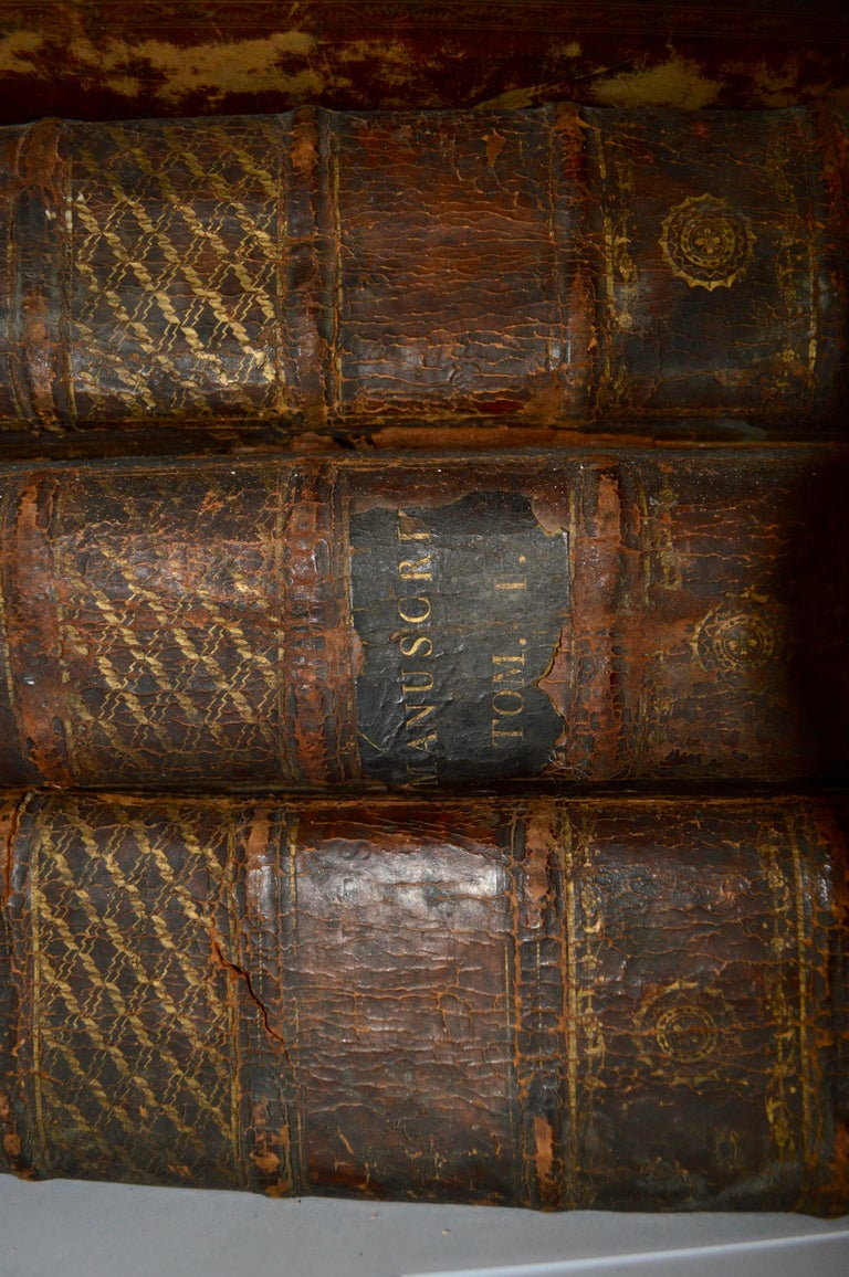 Set of four large thick, 18th century leather-bound books for decoration Latin text, catalogues