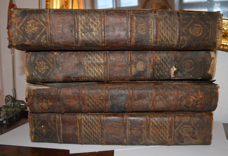 Set of Four Large Thick, 18th Century Leather-Bound Books for Decoration For Sale 12