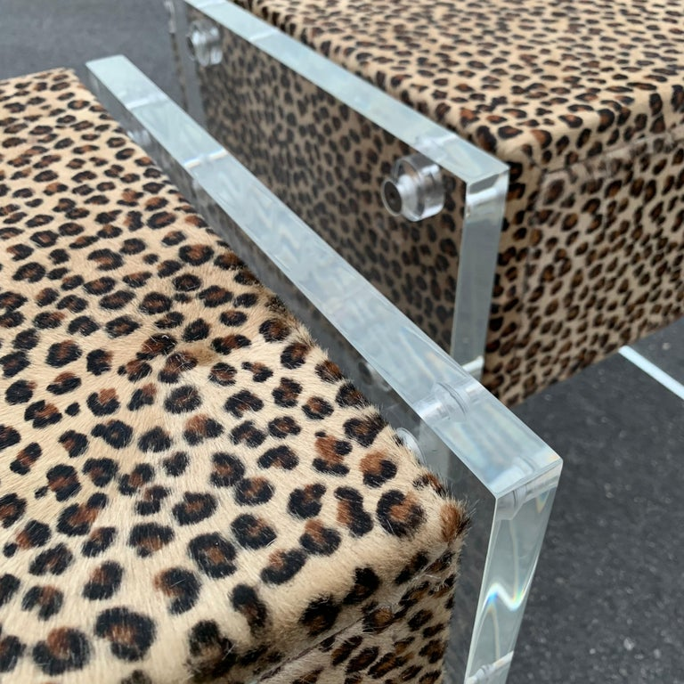Pair of Faux Cheetah Skin Upholstered Nightstands with Lucite Side Panels For Sale 6