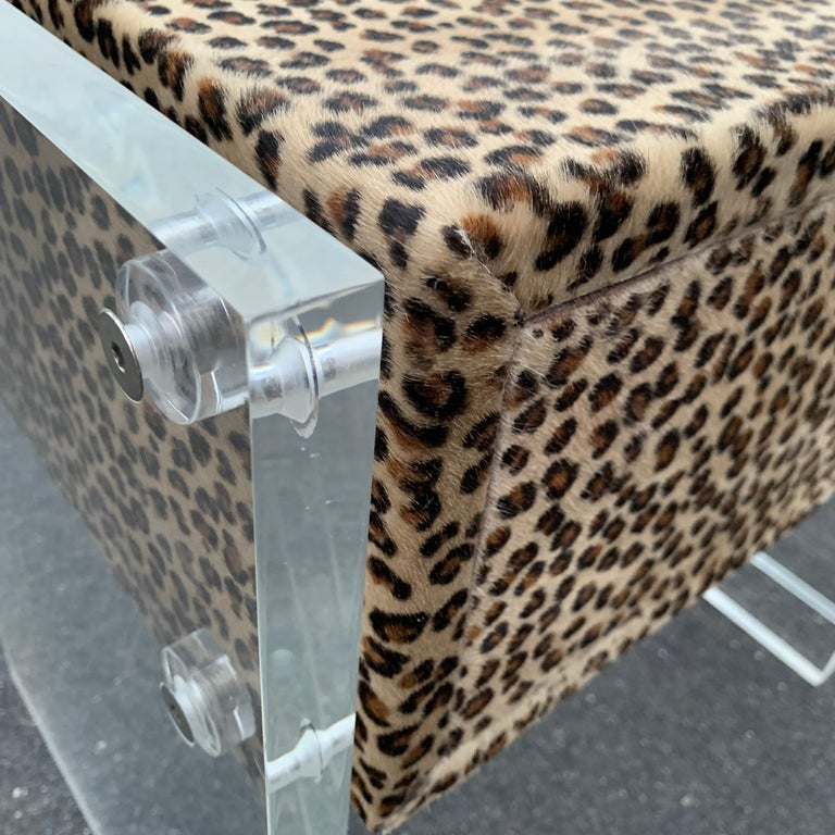 Pair of Faux Cheetah Skin Upholstered Nightstands with Lucite Side Panels For Sale 10
