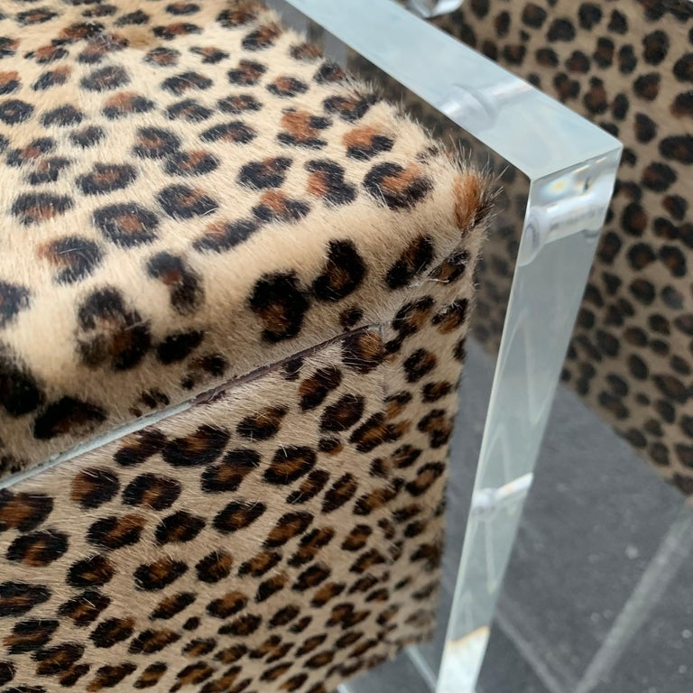 Pair of Faux Cheetah Skin Upholstered Nightstands with Lucite Side Panels For Sale 11