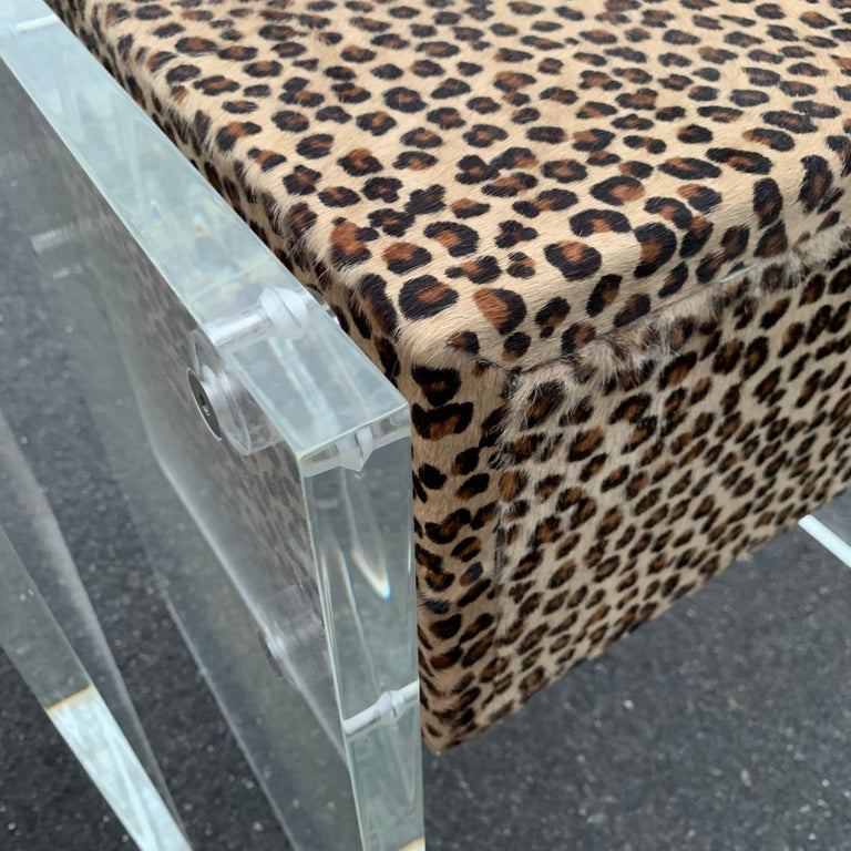 Pair of Faux Cheetah Skin Upholstered Nightstands with Lucite Side Panels For Sale 12