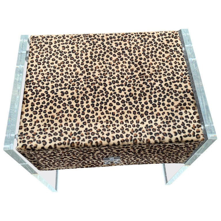 Animal Skin Pair of Faux Cheetah Skin Upholstered Nightstands with Lucite Side Panels For Sale