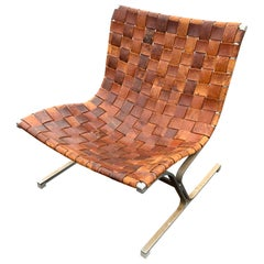 Italian Lounge Chair in Cognac-Color Leather by Ross Littell, Milan, circa 1965