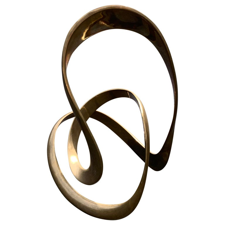 American Large Signed Abstract Brass Sculpture by Tom Bennett,