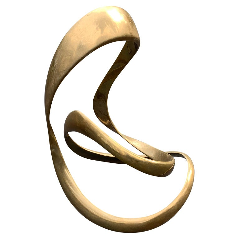 20th Century Large Signed Abstract Brass Sculpture by Tom Bennett,
