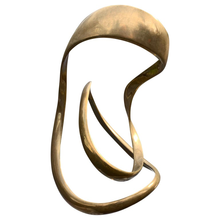 Large Signed Abstract Brass Sculpture by Tom Bennett,