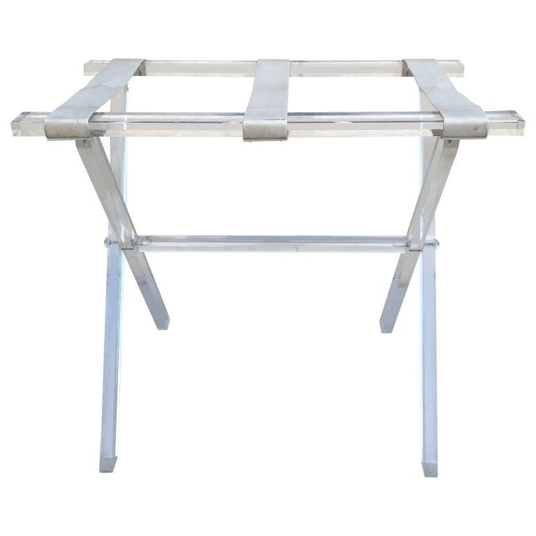 American Vintage Hollywood Regency Lucite Tray Table or Luggage Rack For Sale