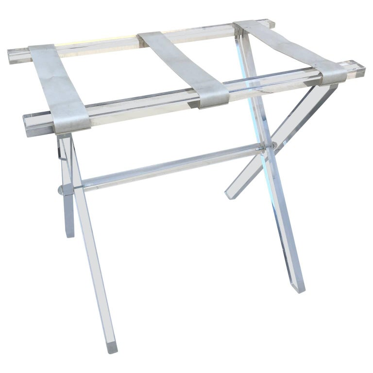 20th Century Vintage Hollywood Regency Lucite Tray Table or Luggage Rack For Sale