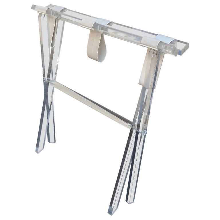 Vintage Hollywood Regency Lucite Tray Table or Luggage Rack For Sale 2