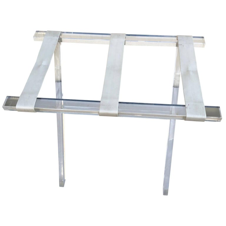 Vintage Hollywood Regency Lucite Tray Table or Luggage Rack For Sale 3