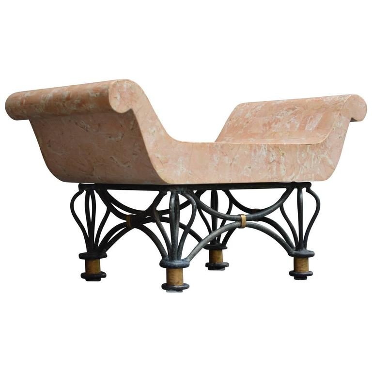 Faux Marble Garden Stool At 1stdibs