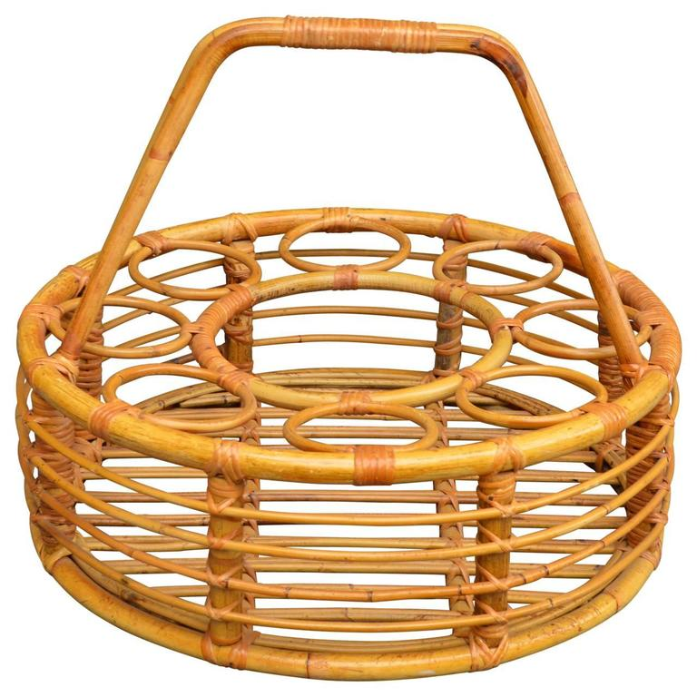 Rattan Picnic Wine Basket For Sale