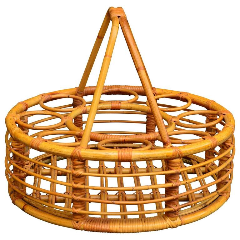French Rattan Picnic Wine Basket For Sale
