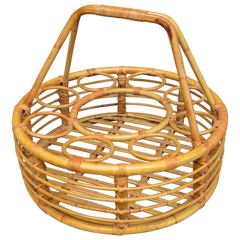 Caning Rattan Picnic Wine Basket For Sale