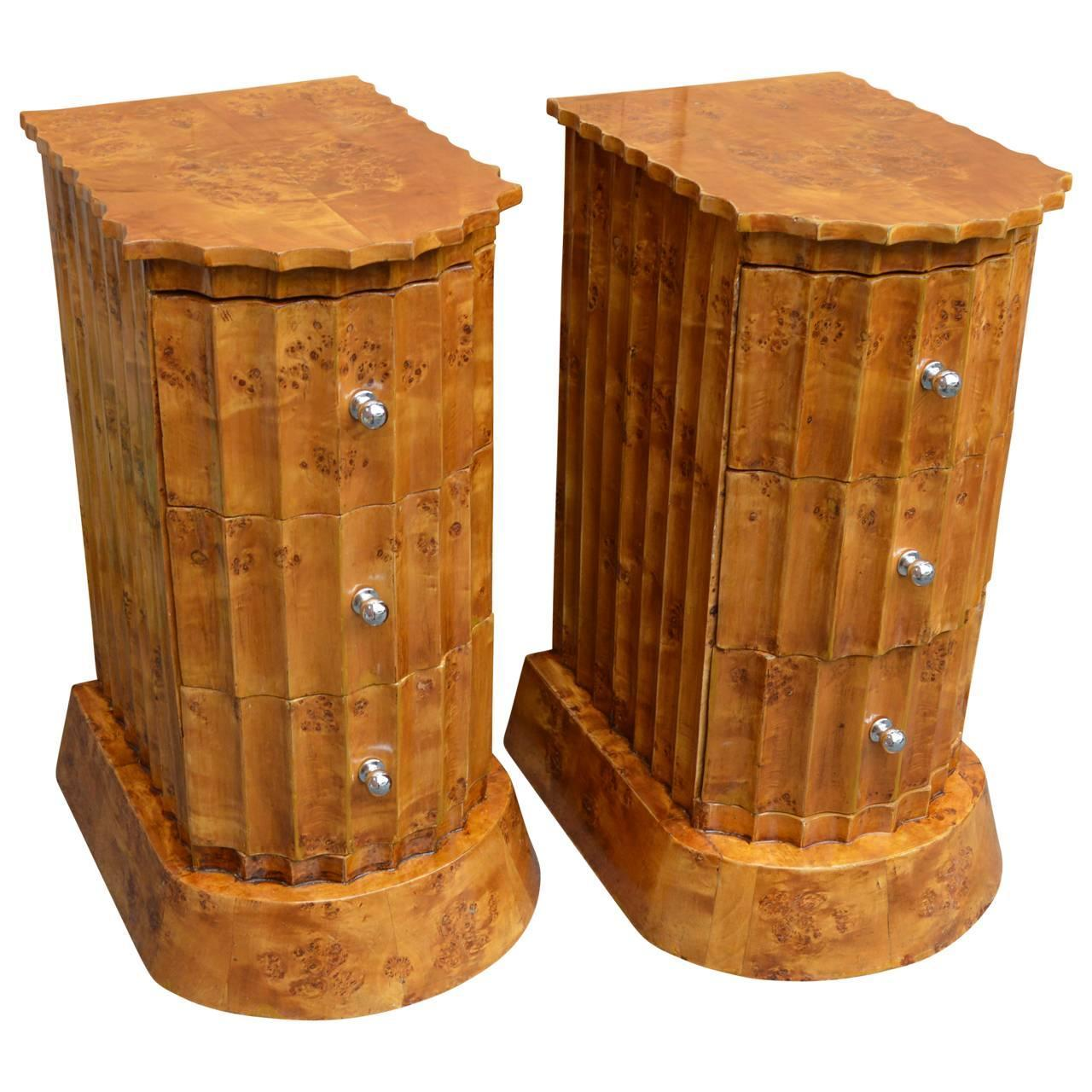 Pair Of Period Art Deco Burl Wood Side Tables At 1stdibs