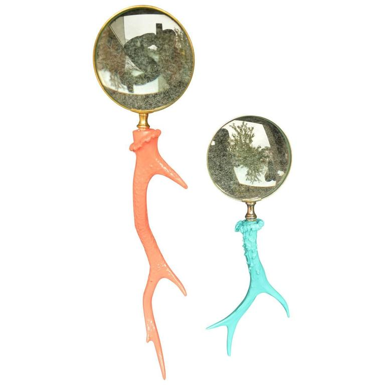American Vintage Turquoise Antler Magnifying Glass Desk Accessories For Sale