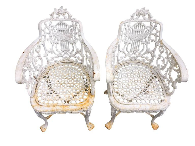Pair of 19th Century cast iron garden armchairs  $125 flat rate front door delivery includes Washington DC metro, Baltimore and Philadelphia