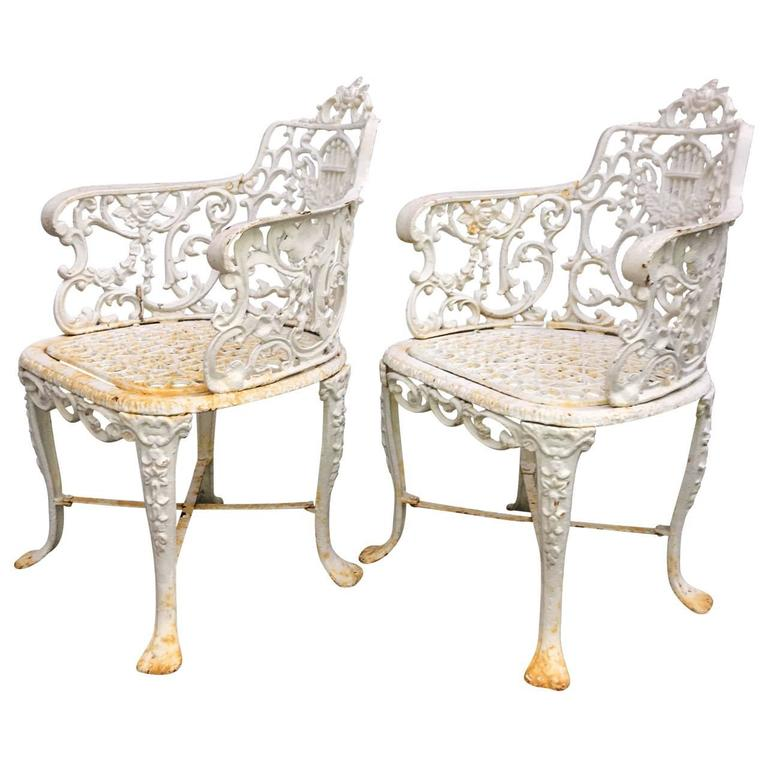 Victorian Pair of Early Cast Iron Patio Armchairs, Robert Wood Foundry For Sale