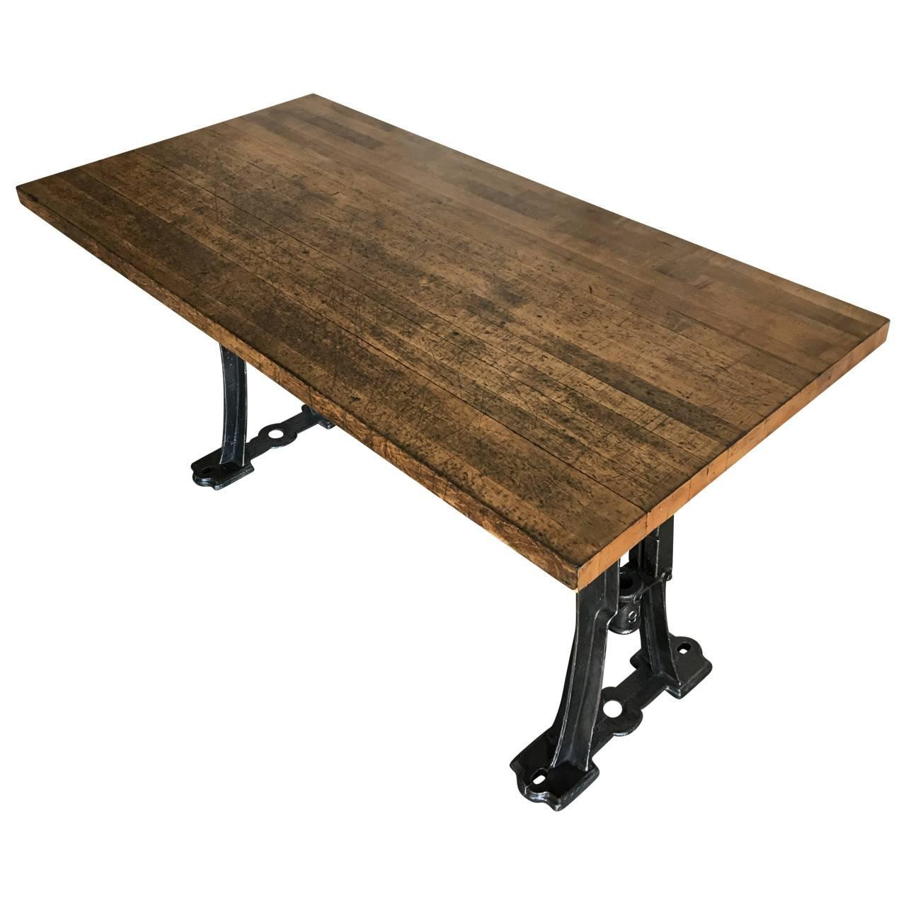 Industrial Cast Iron Base Dining Room Table For Sale at ...