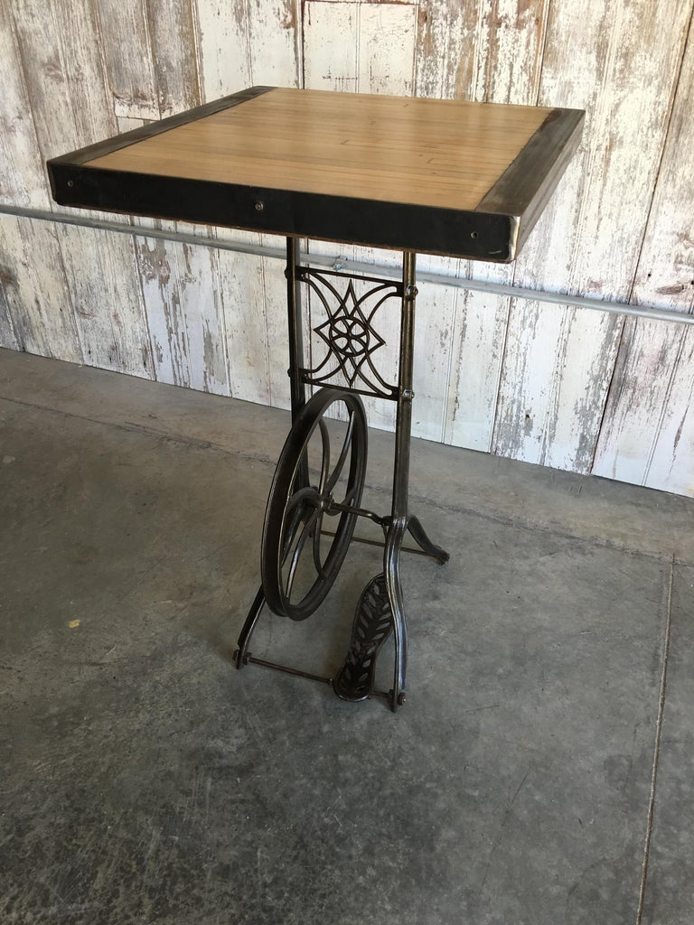 Cast Hightop Table on Industrial Base For Sale
