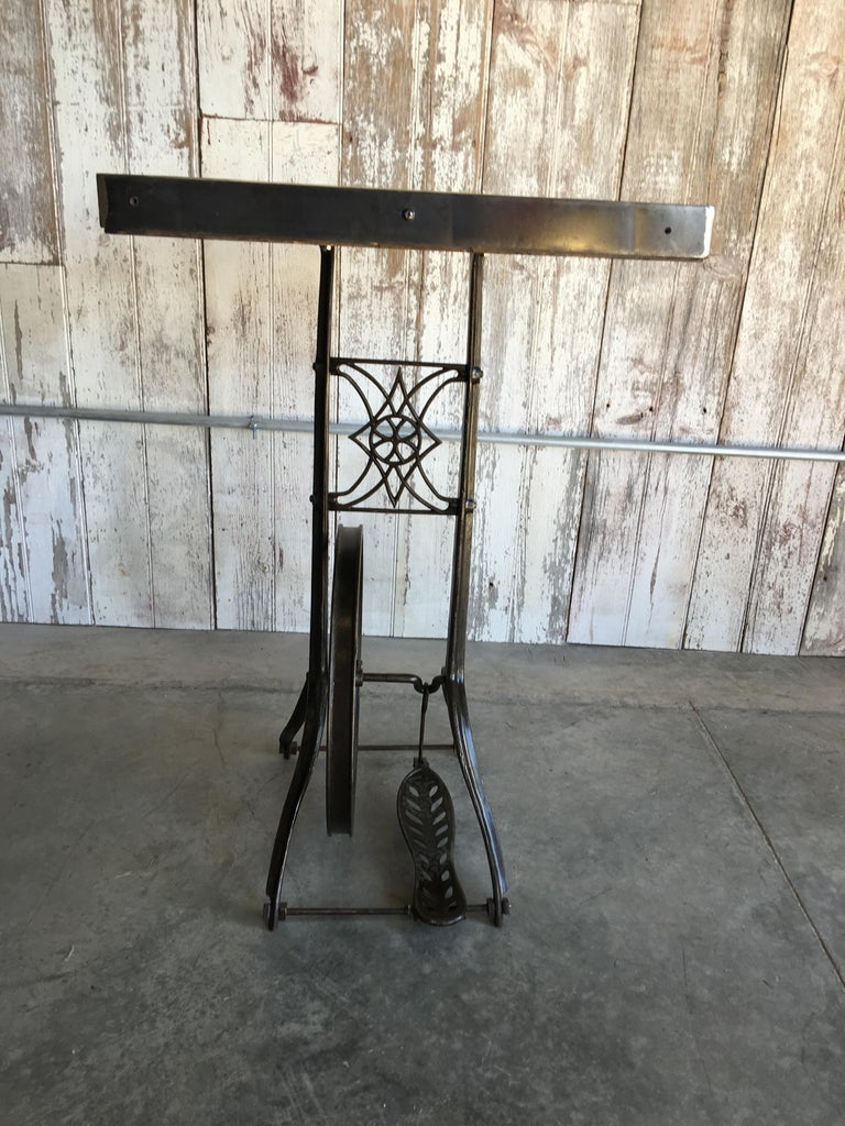 Iron Hightop Table on Industrial Base For Sale