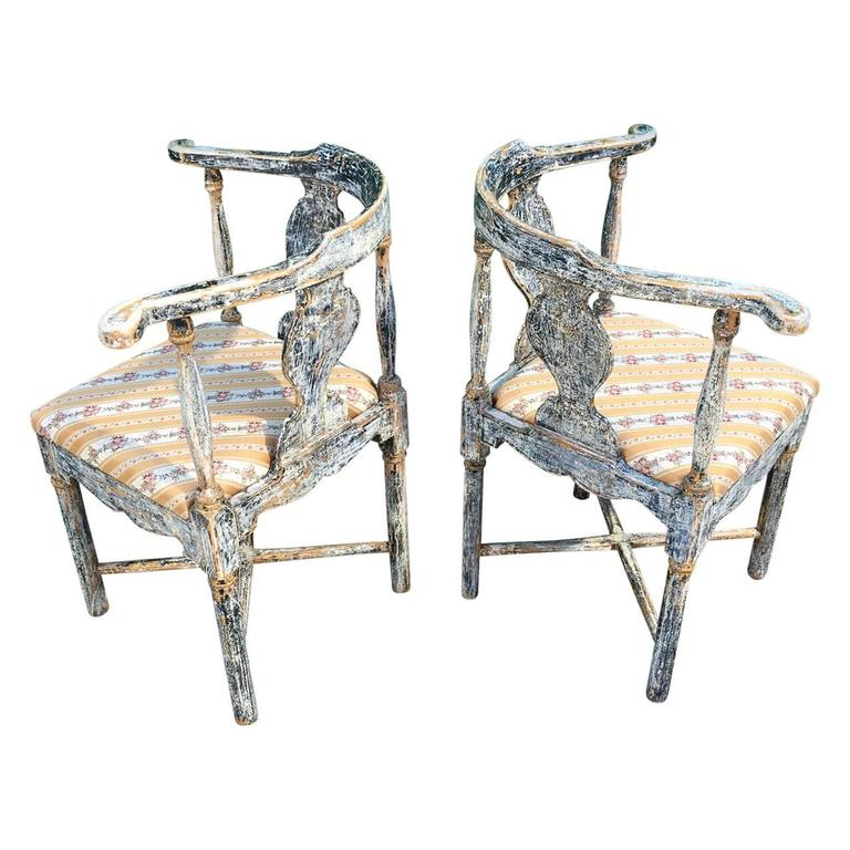 Pair of Swedish 1810s-1830s corner chair scraped down to the original black paint. Seat are loose and be easily re-upholstered.  $125 flat rate front door delivery includes Washington DC metro, Baltimore and Philadelphia