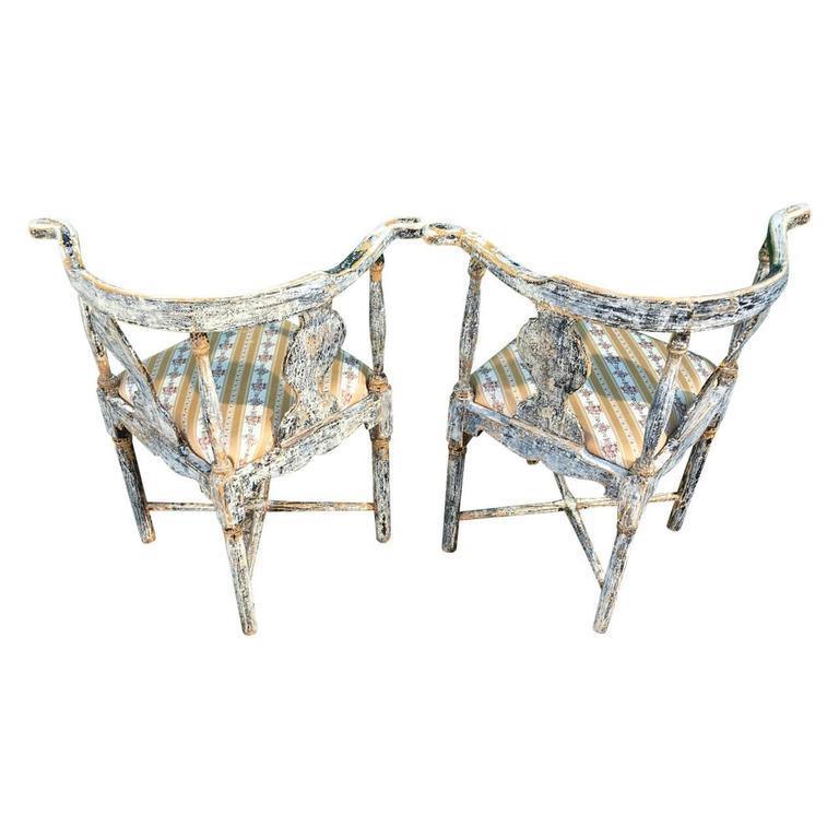 Wood Pair of Swedish Gustavian Corner Armchairs For Sale