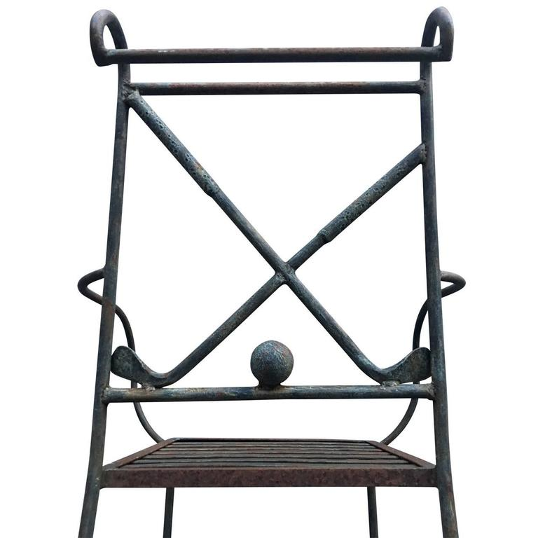 Ordinaire Industrial Set Of Three Golf Themed Bar Stools For Sale