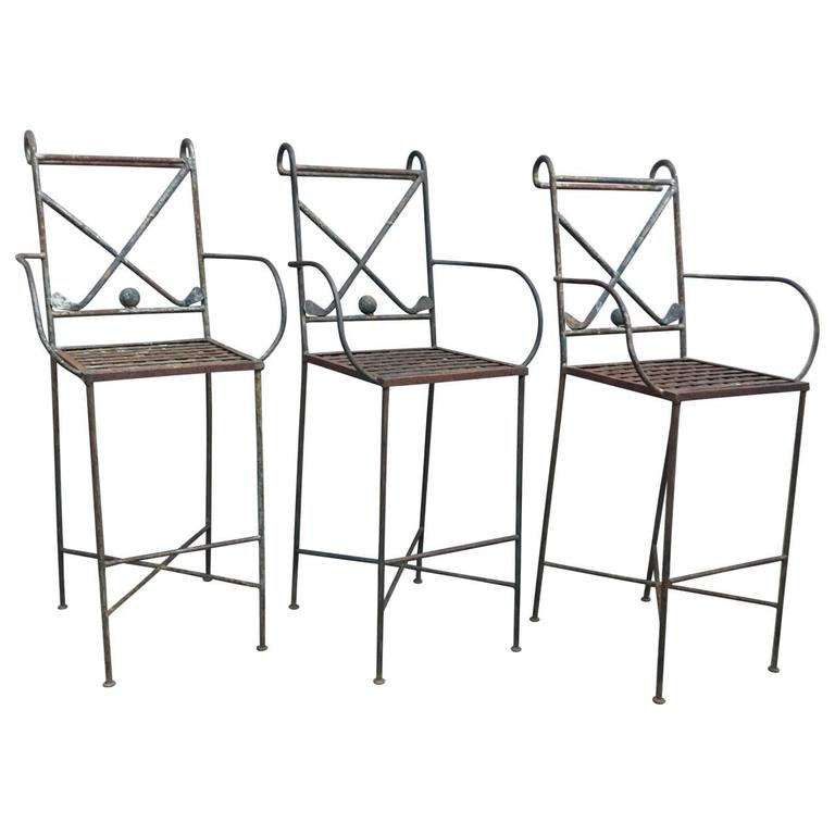 Set Of Three Golf Themed Bar Stools For Sale 1