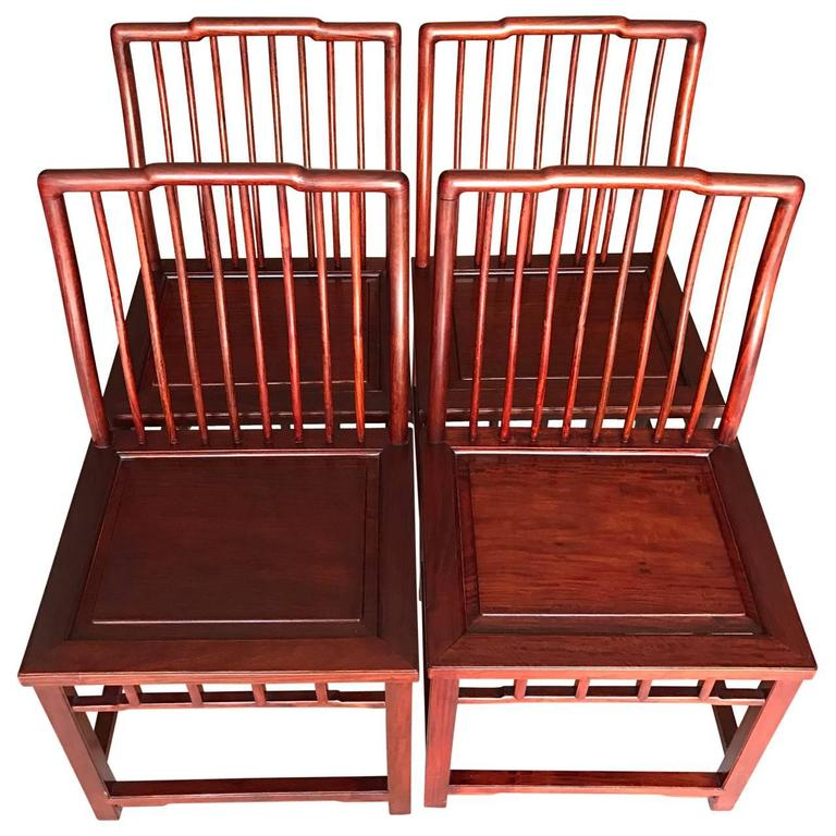 set of six elegant chinese hardwood dining room chairs for