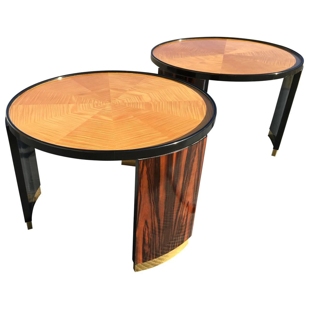 Pair Of Round Mastercraft Occasional Side Tables For Sale At 1stdibs