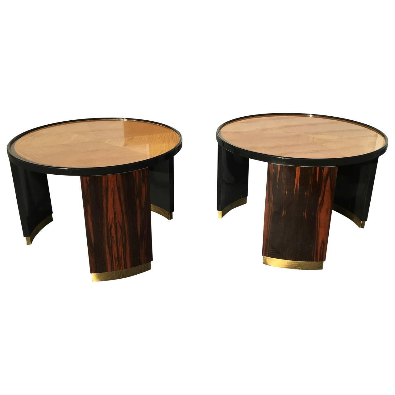 Round Coffee Table Pair: Pair Of Round Mastercraft Occasional Side Tables For Sale