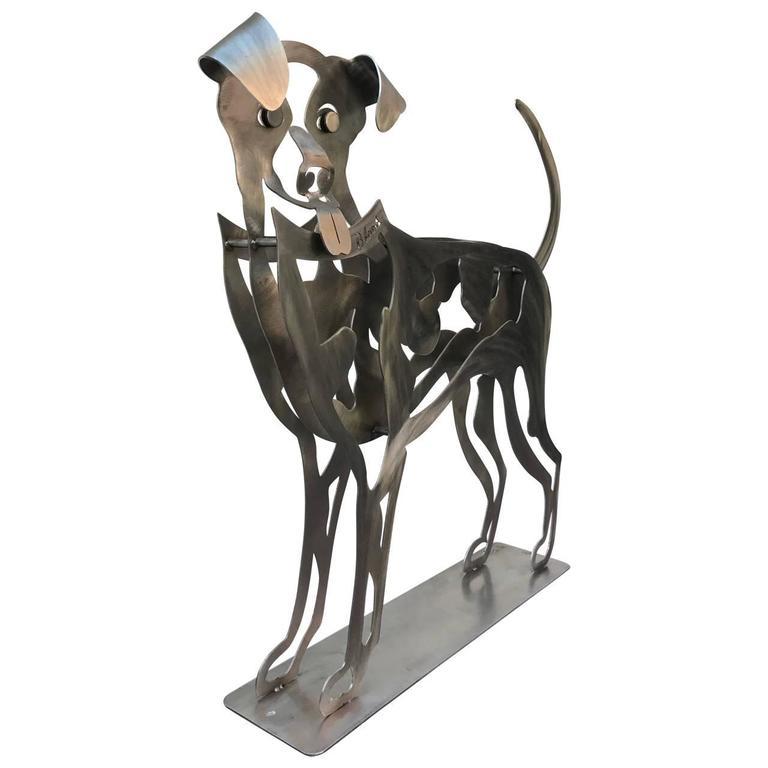 Modern Happy Dog Sculpture by Babette Bloch For Sale