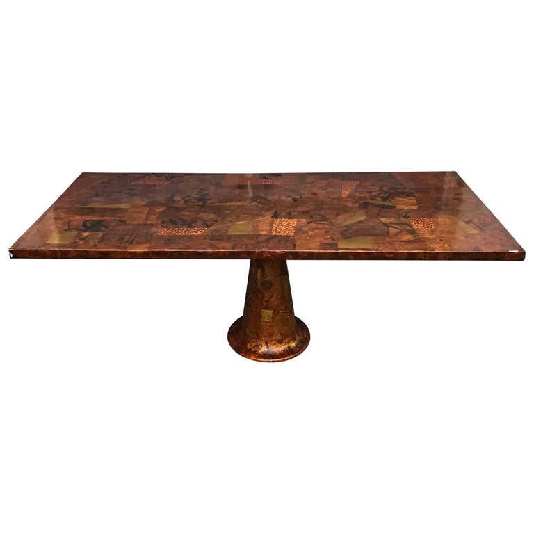 Amazing Paul Evans Style Dining Table With Glass Top, 1970s For Sale