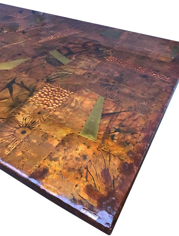 Amazing Paul Evans Style Dining Table With Glass Top, 1970s For Sale 1