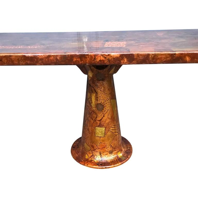Amazing paul evans style dining table with glass top for Amazing glass dining table