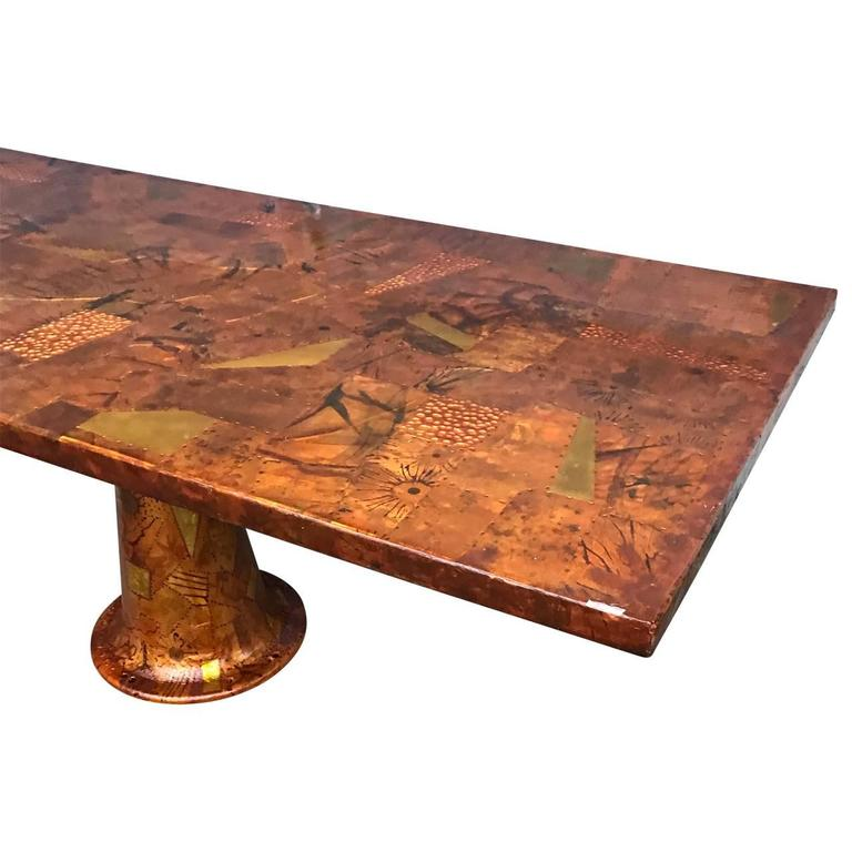 Patchwork Amazing Paul Evans Style Dining Table With Glass Top, 1970s For Sale