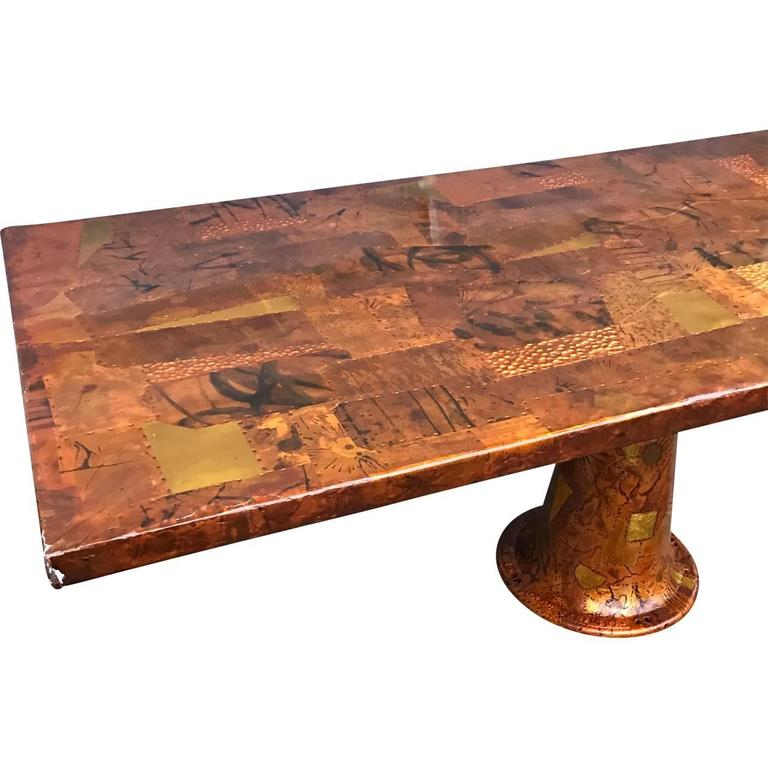 Mid-Century Modern Amazing Paul Evans Style Dining Table With Glass Top, 1970s For Sale