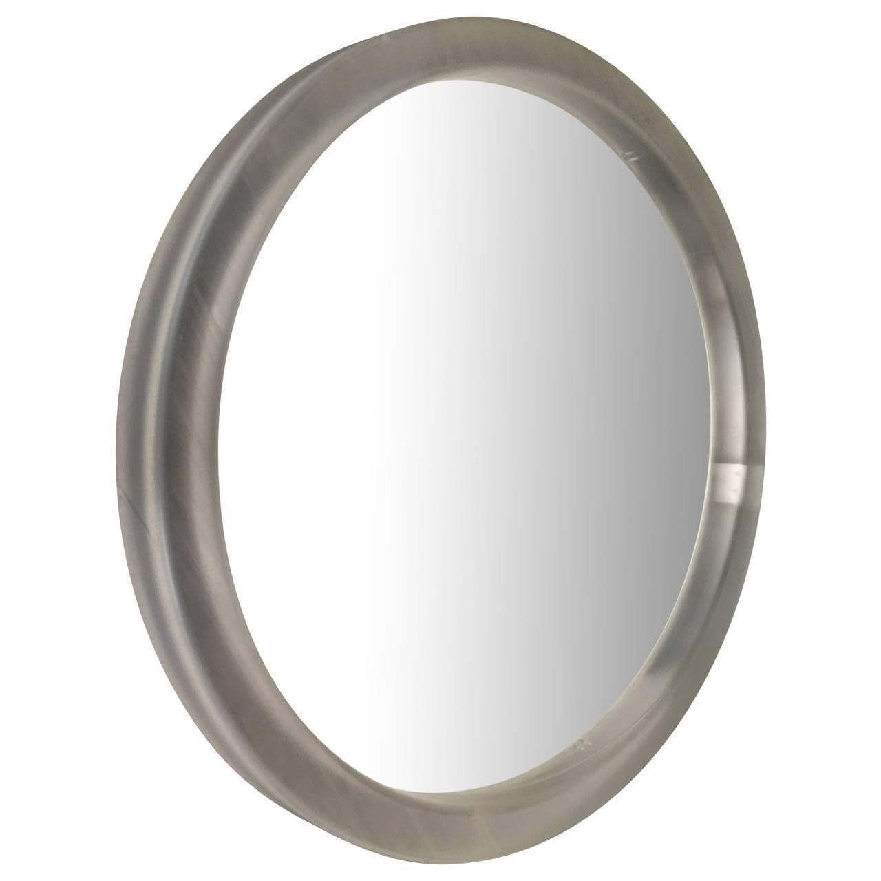 Large Round Modern Thick Lucite Mirror