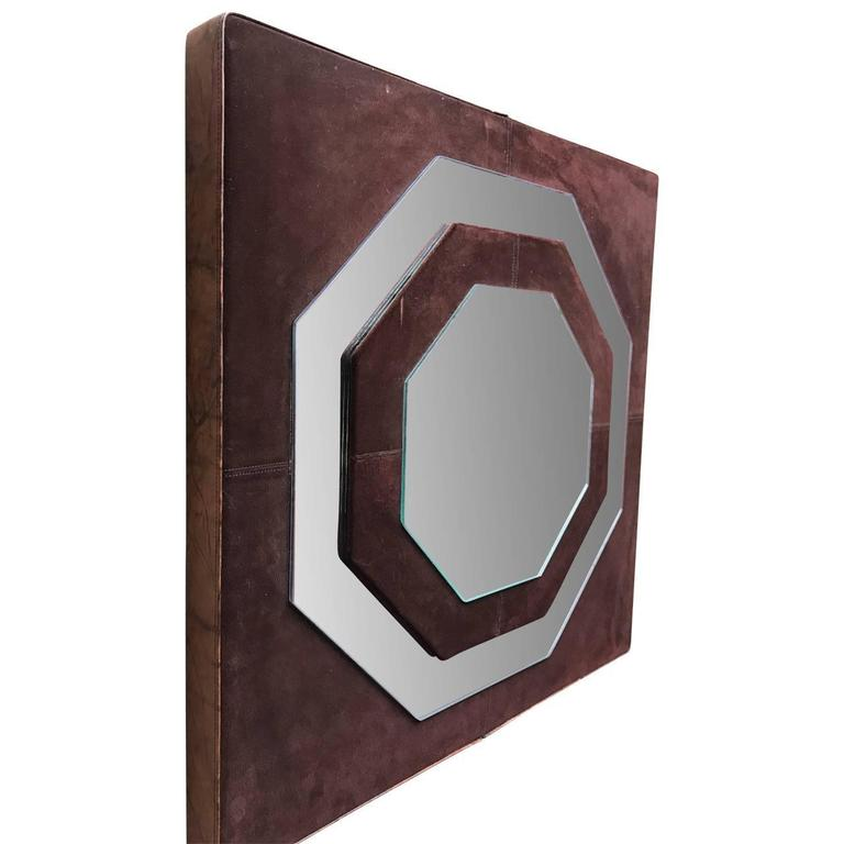 Mid-20th Century Mid-Century Modern Suede Mirror by Schlesinger Brothers For Sale